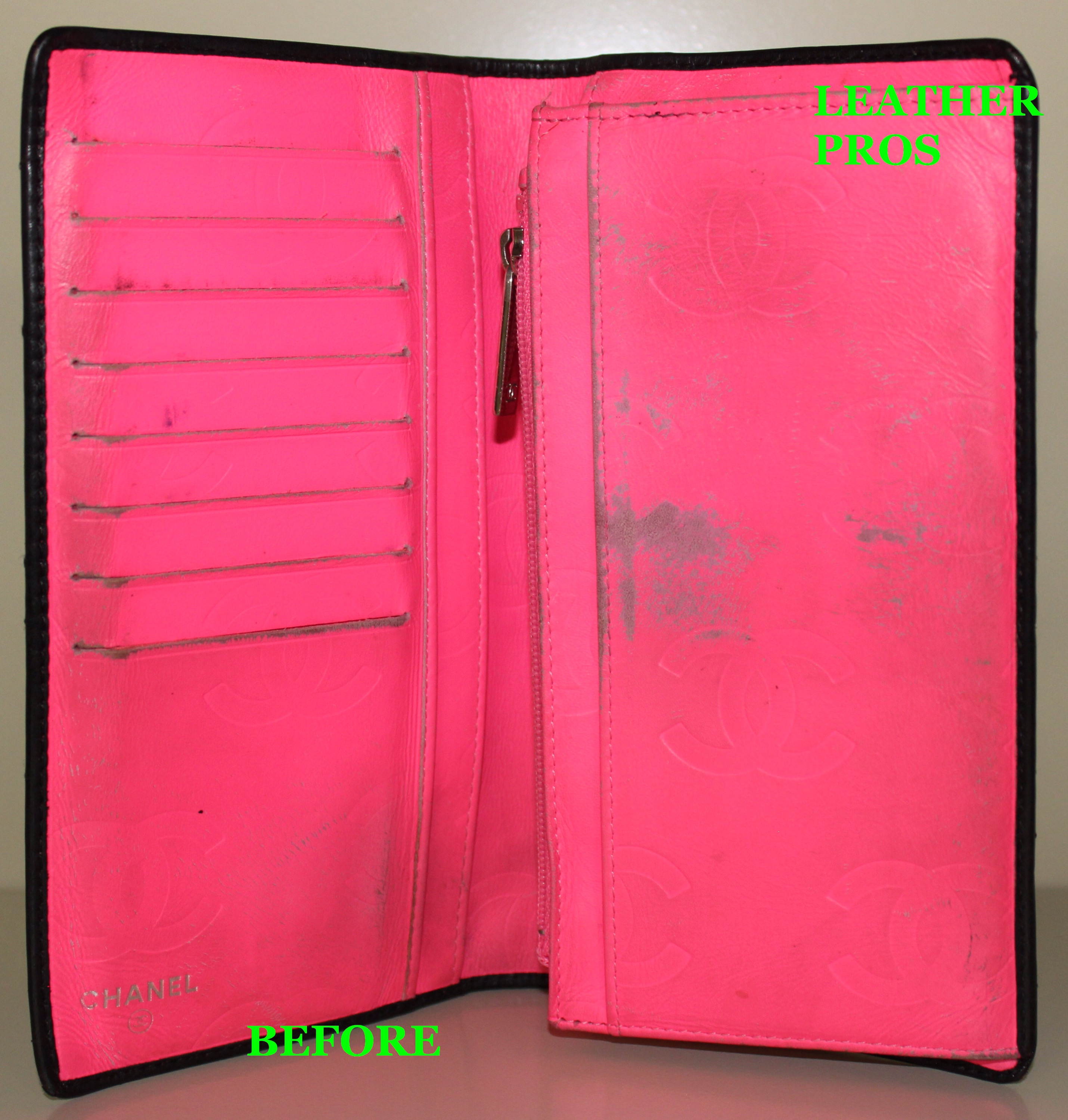 06aa84cb499 Refinishing interior hot pink color of a Chanel Cambon Wallet ...