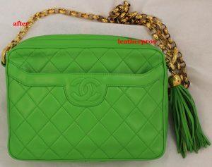 Refinishing Chanel Vintage Lime Green Handbag